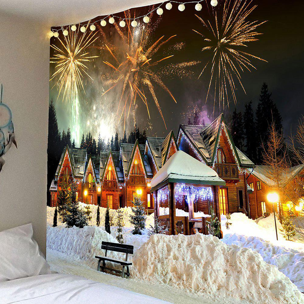 Christmas Fireworks Party Patterned Wall Art Tapestry - COLORFUL W91 INCH * L71 INCH