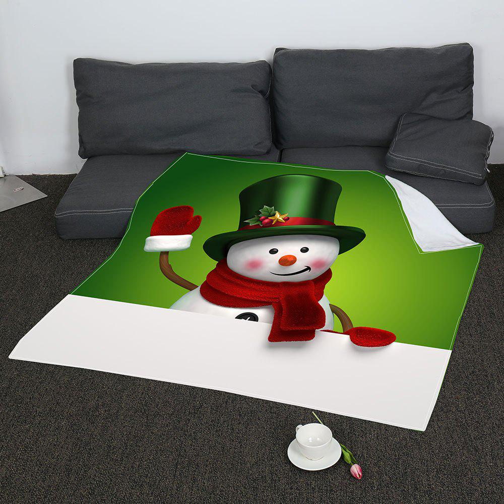 Christmas Smiling Snowman Print Coral Fleece Blanket - GREEN/WHITE W59 INCH * L79 INCH