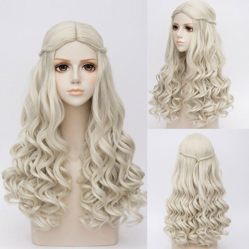 Long Middle Part Wavy Synthetic Alice au pays des merveilles White Queen Cosplay Wig - gris
