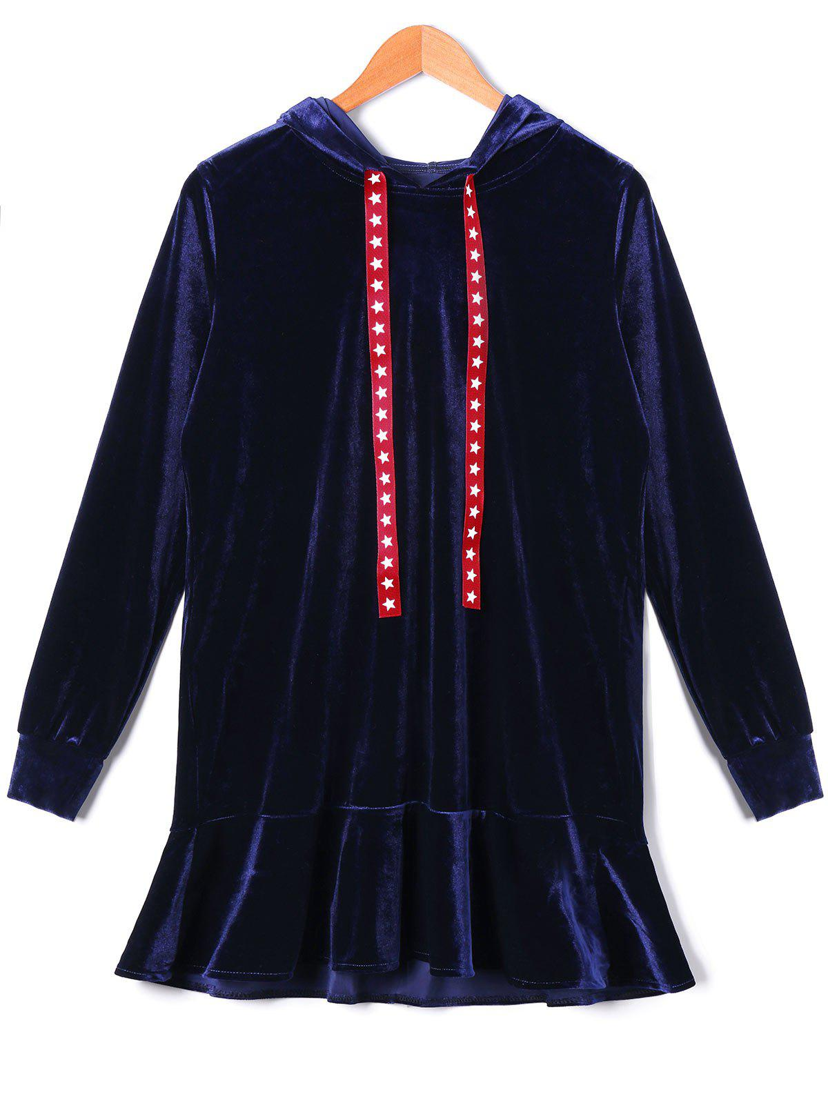 Stars Drawstring Velvet Hooded Drop Waist Dress - DEEP BLUE L
