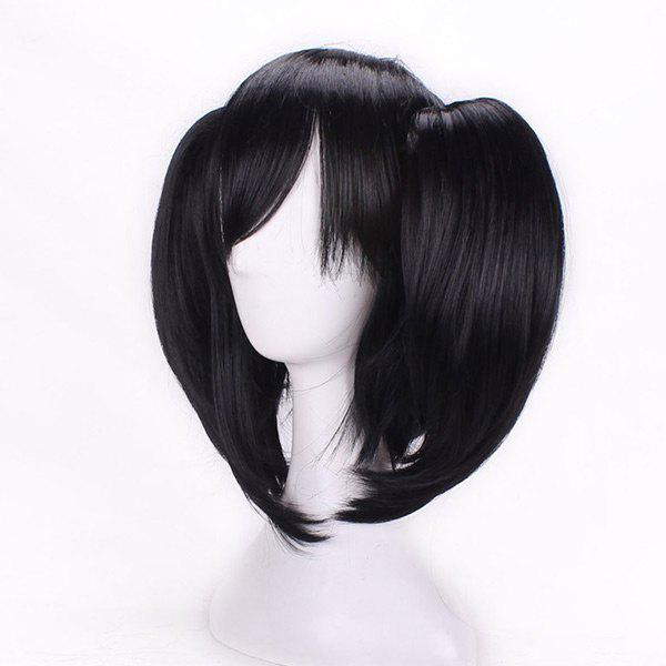 Short Side Bang Straight Pigtail Anime Love Live Yazawa Nico Cosplay Synthetic Wig - BLACK