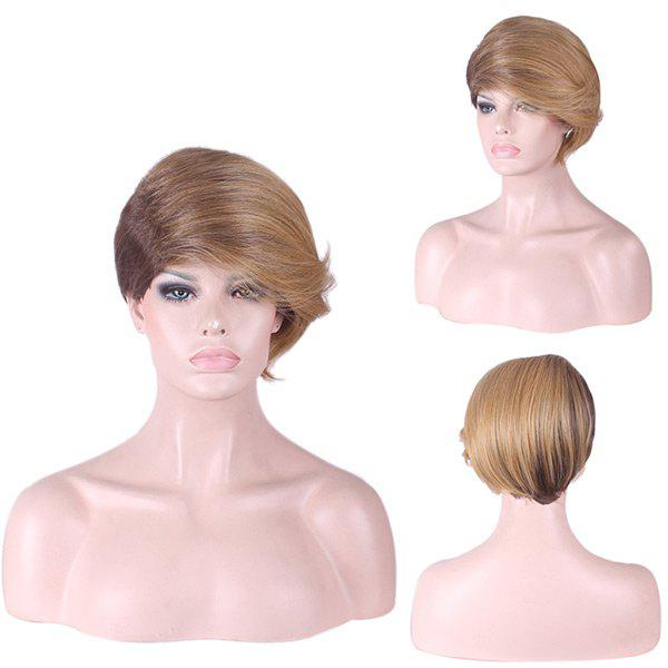 Short Side Fringe Straight Two Tone Synthetic Wig - COLORMIX