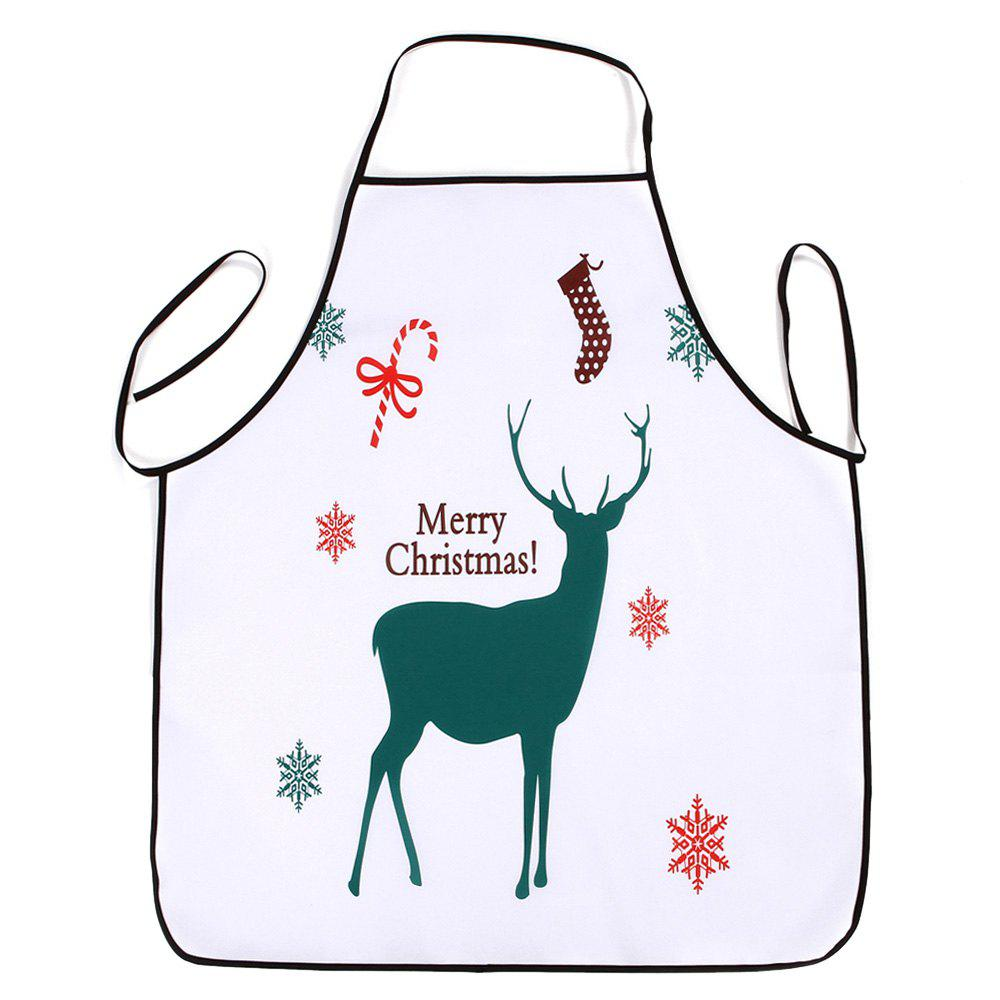 Christmas Deer Printed Waterproof Kitchen Apron - WHITE 80*70CM