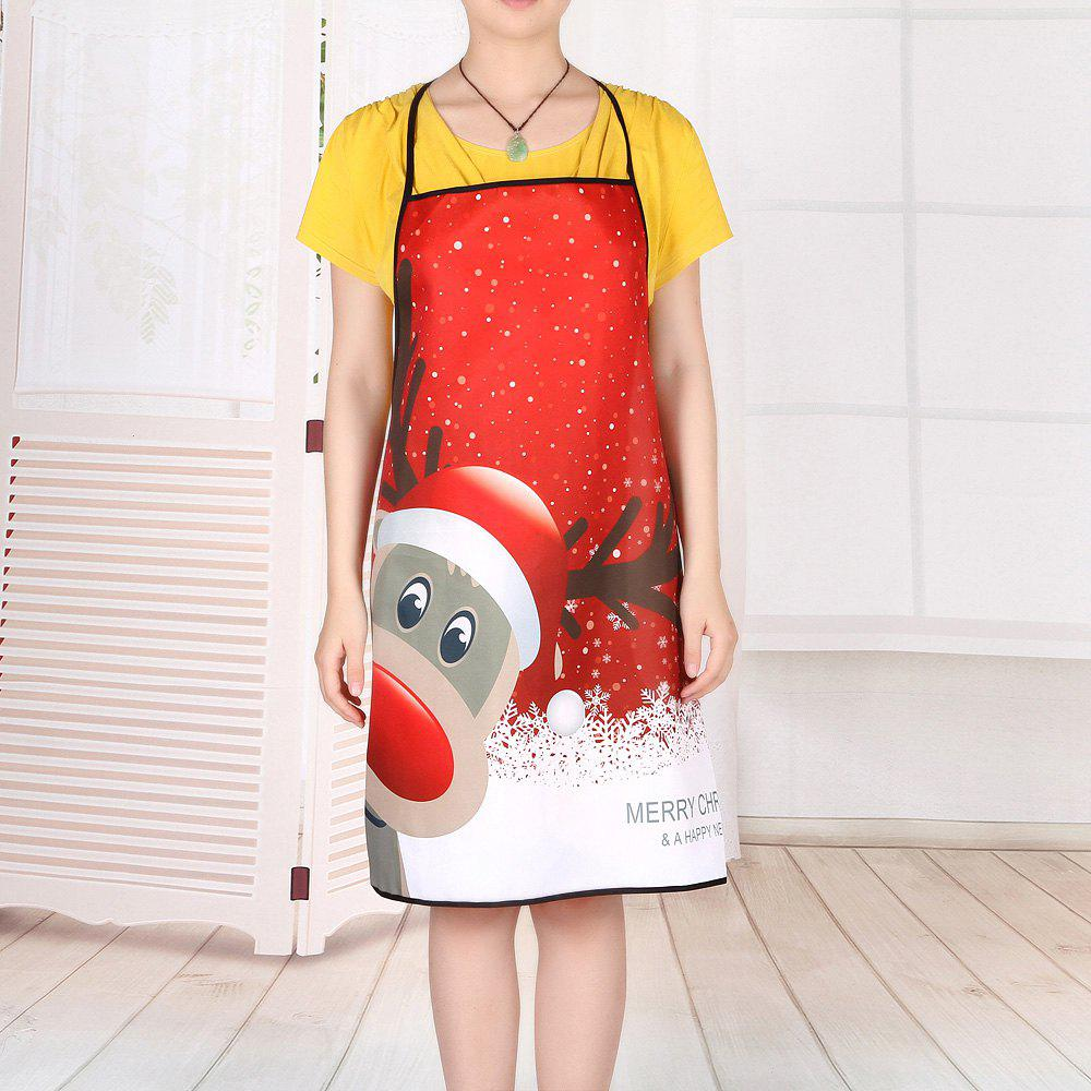 Christmas Deer Printed Waterproof Cooking Apron - RED 80*70CM
