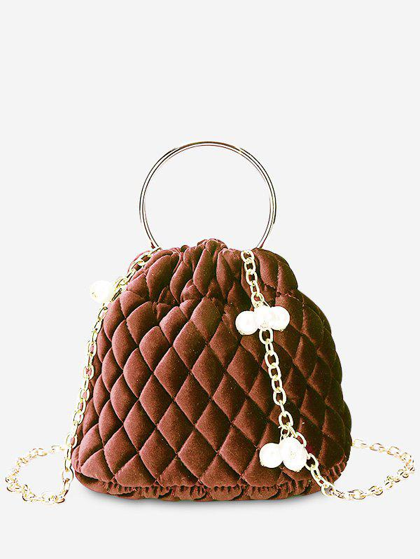 Quilted Stitching Faux Pearl Crossbody Bag - BROWN