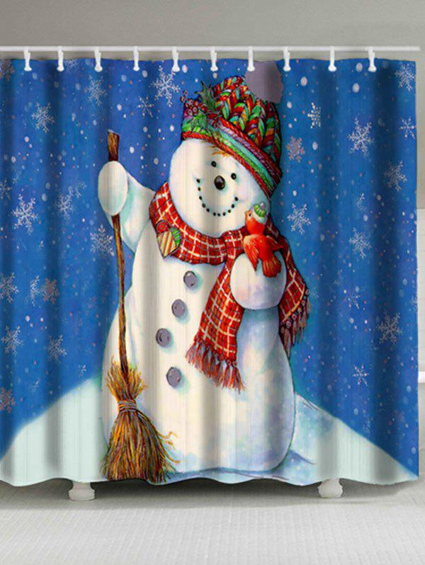 Christmas Snowman Pattern Waterproof Shower Curtain waterproof christmas snowman pine pattern shower curtain