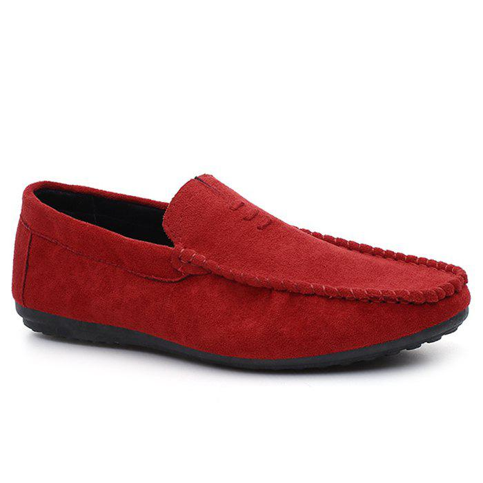 Faux Suede Soft Sloe Mocassin Shoes - Rouge 39
