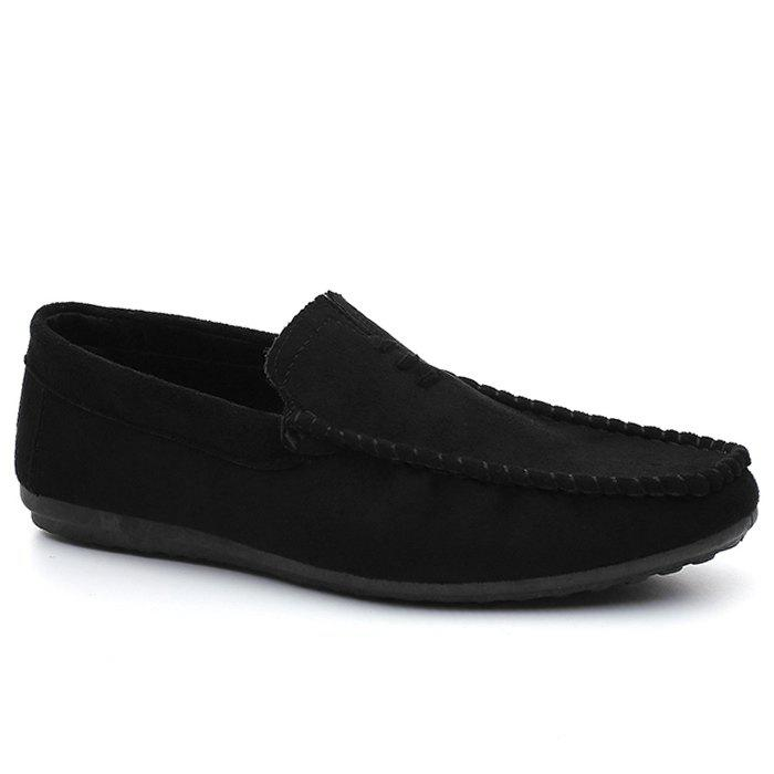 Faux Suede Soft Sloe Mocassin Shoes - Noir 42
