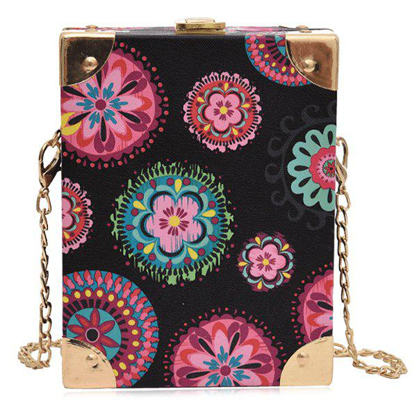 Metal Corner Patchwork Crossbody Bag - BLACK FLOWER