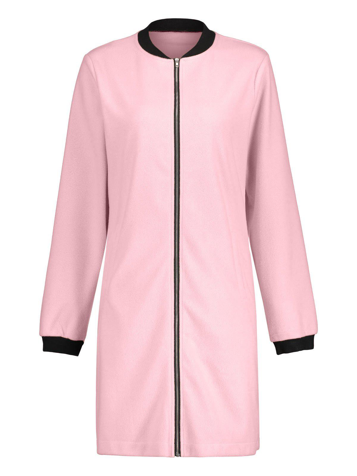Long Zip Up Coat - ROSE PÂLE M