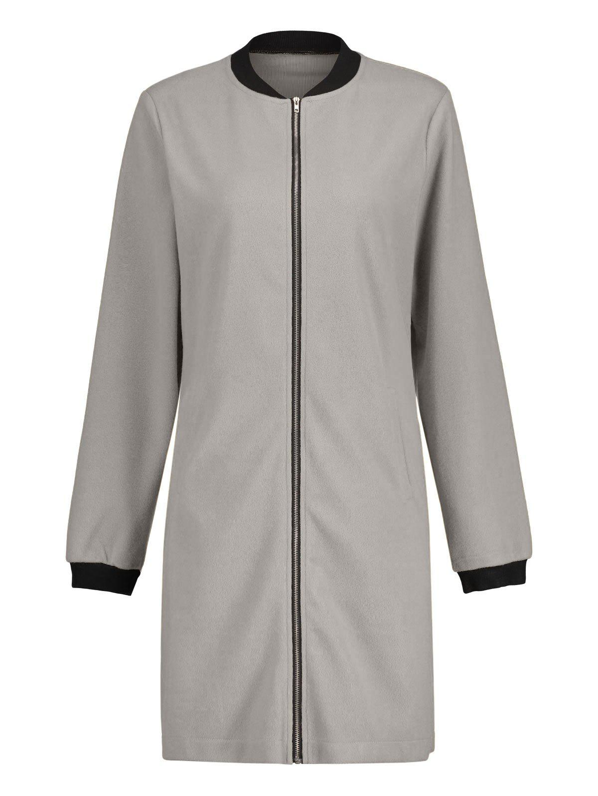 Long Zip Up Coat - gris L