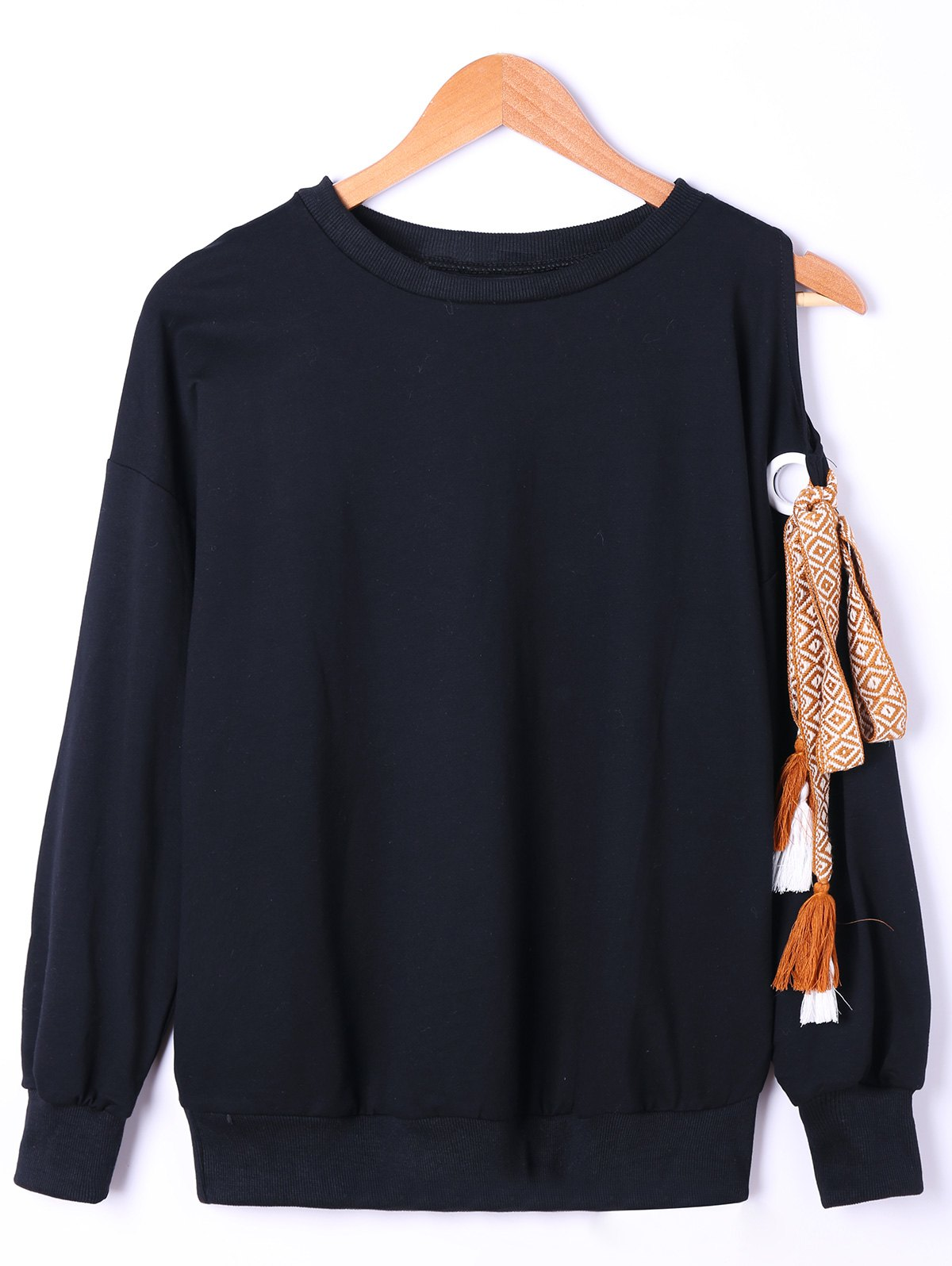 Side Bowknot Embellished Plus Size Sweatshirts - Noir 3XL