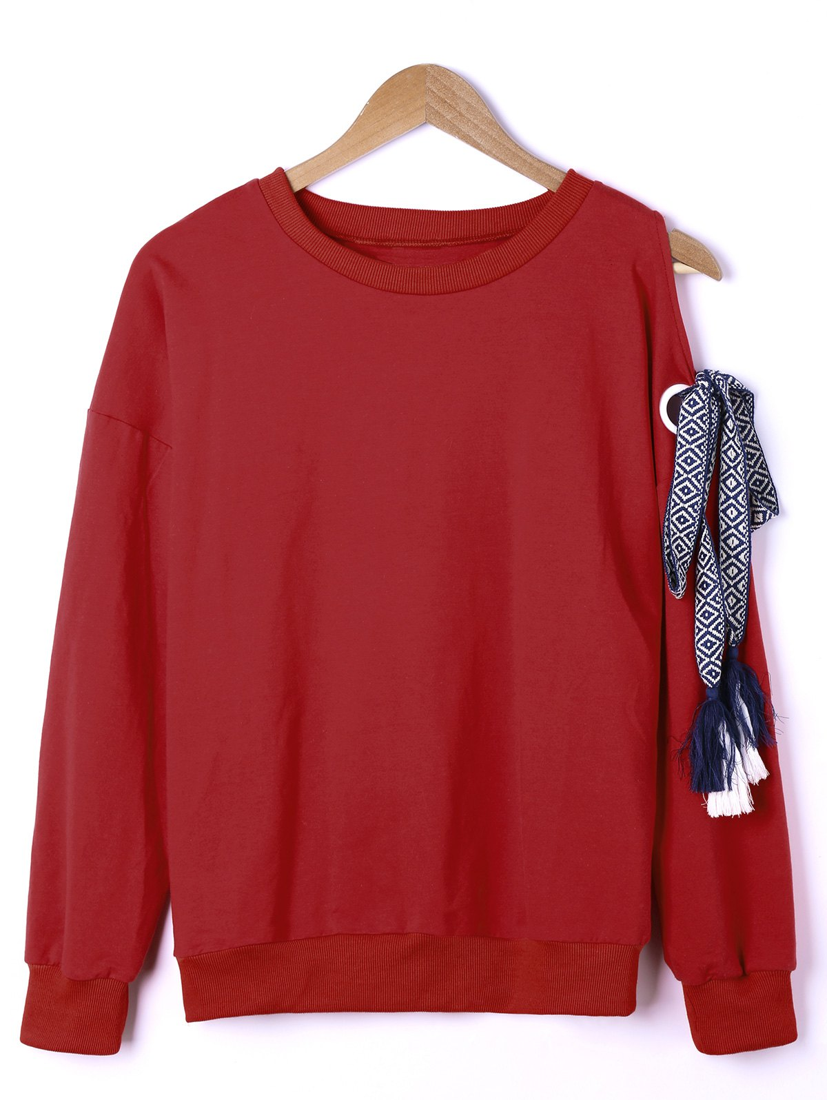 Side Bowknot Embellished Plus Size Sweatshirts - Rouge XL