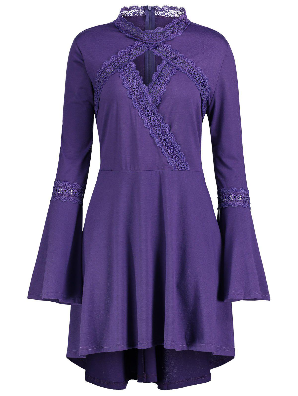 Cut Out Plus Size Long Sleeve Tunic Top - PURPLE 4XL
