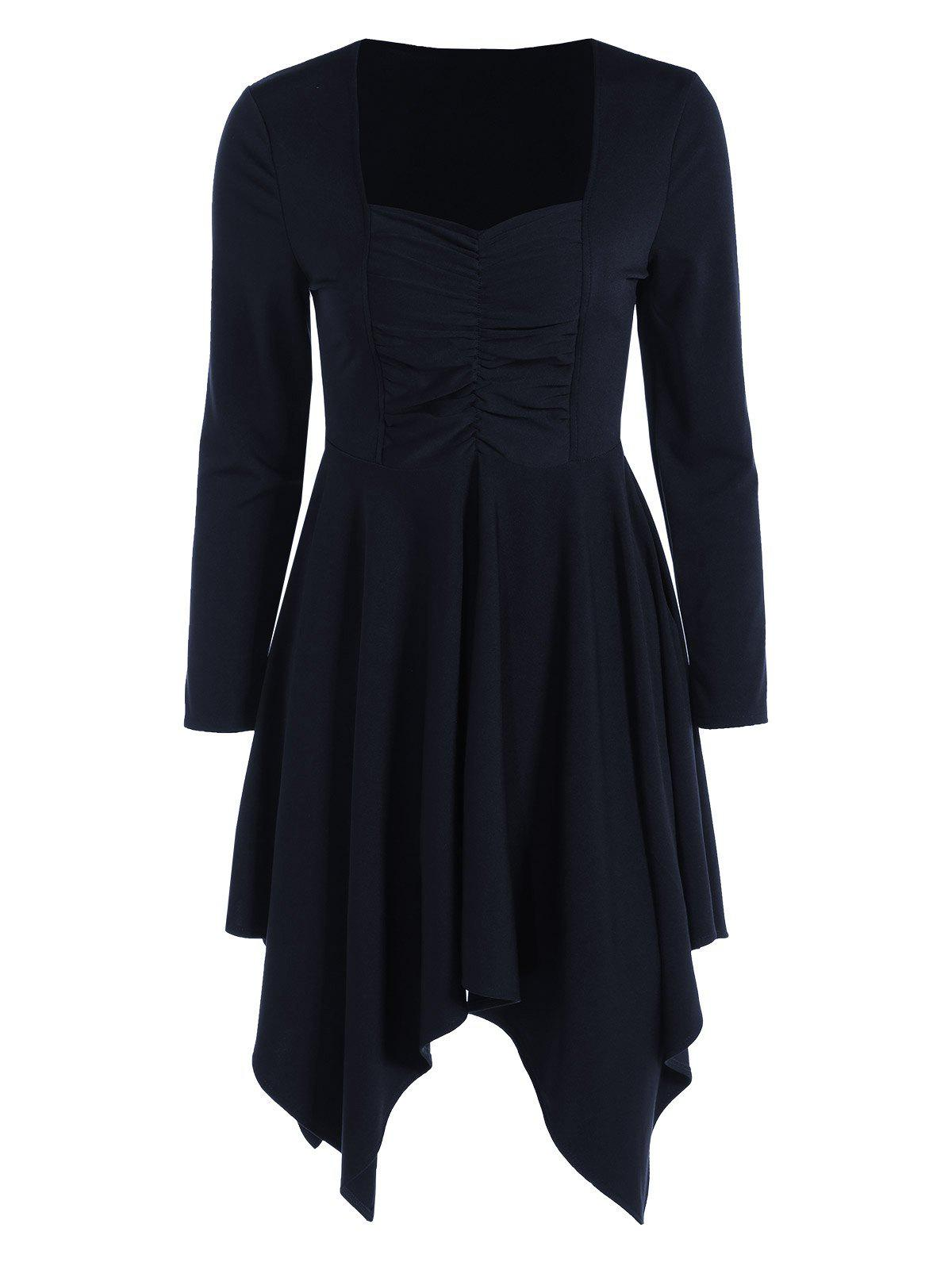 Sweetheart Collar Long Sleeve Handkerchief Tunic Dress - PURPLISH BLUE L