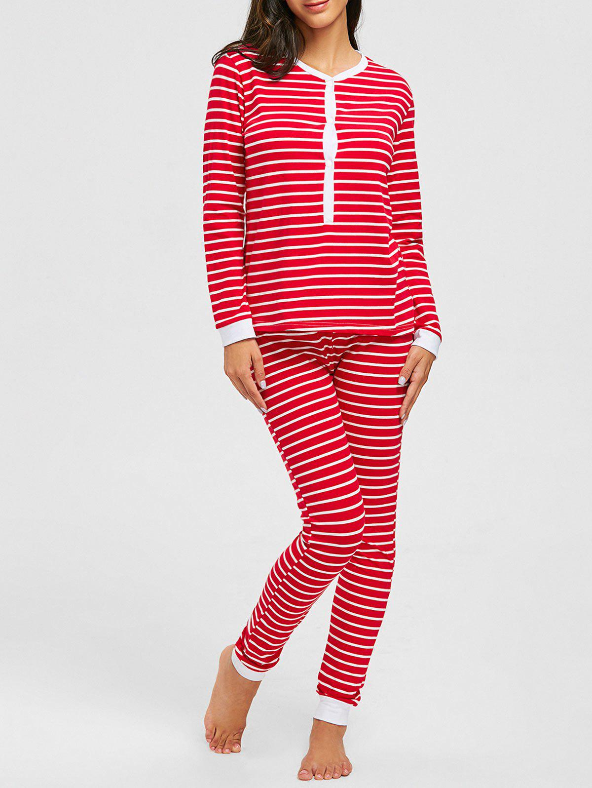 Christmas Striped Long Sleeve PJ Set - RED M