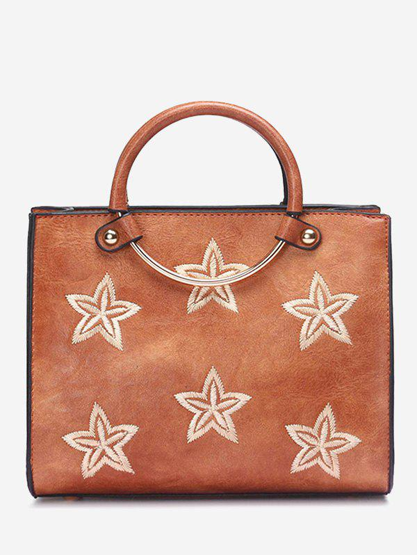 Embroidery Stars Round Ring Handbag - BROWN