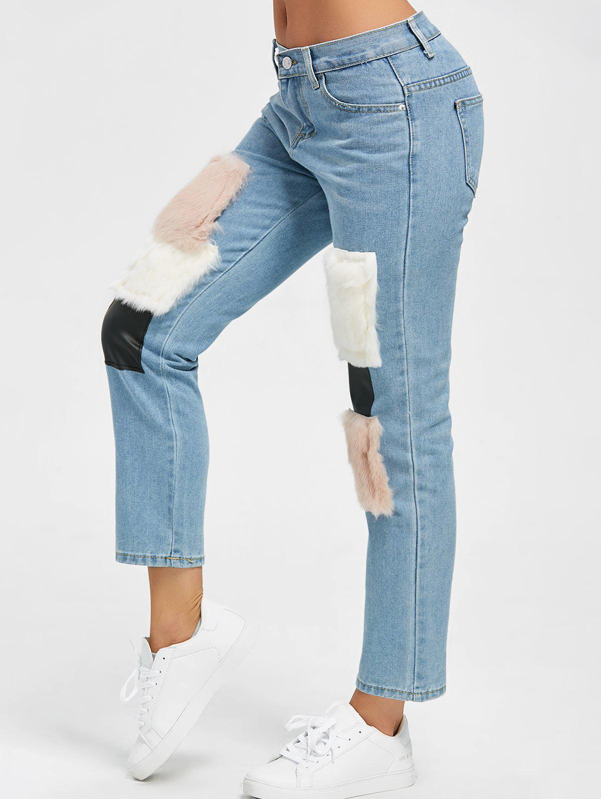 High Waist Faux Fur Print Ninth Jeans - DENIM BLUE XL