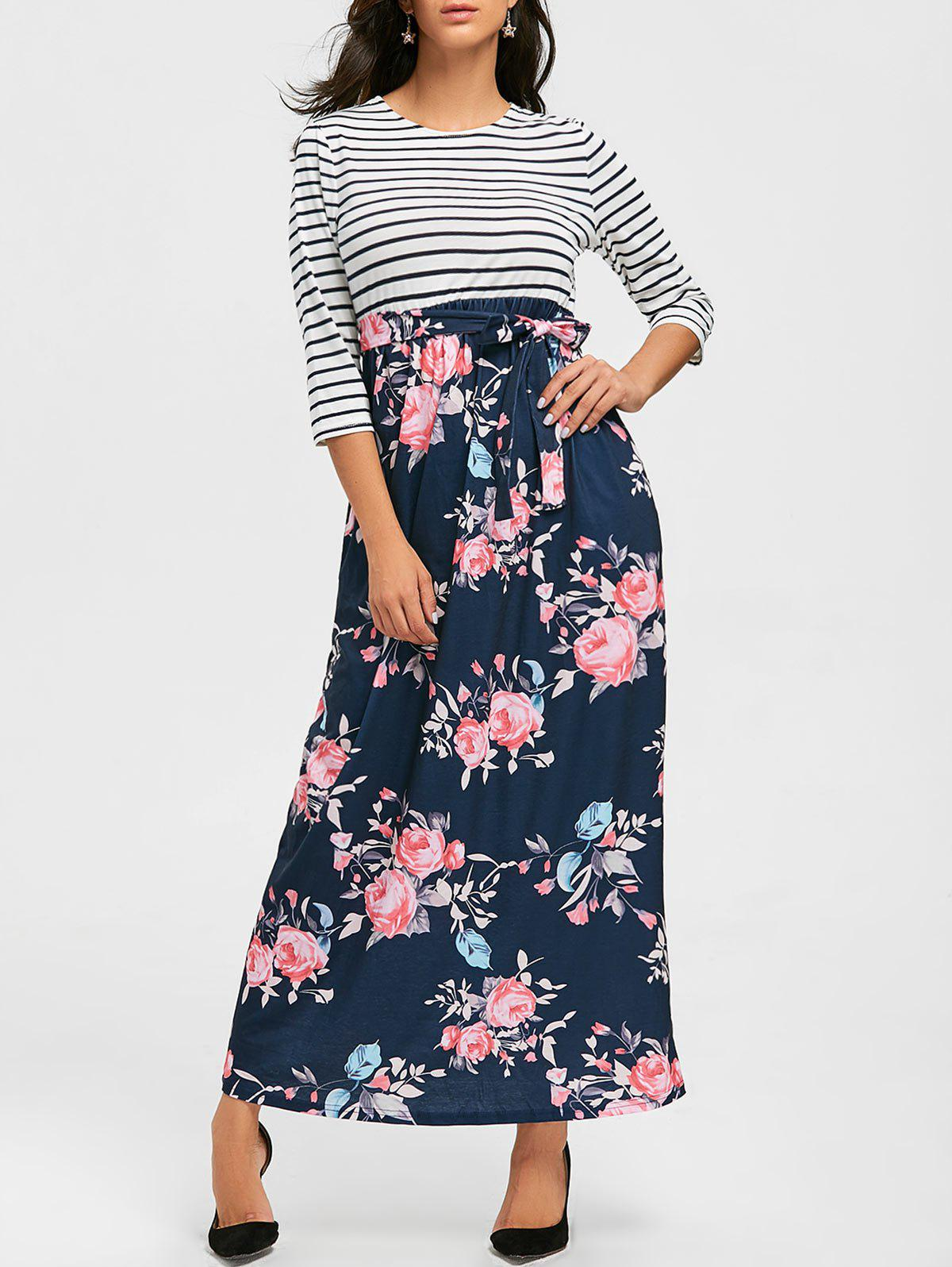 Striped and Floral Print Maxi Dress - PURPLISH BLUE L
