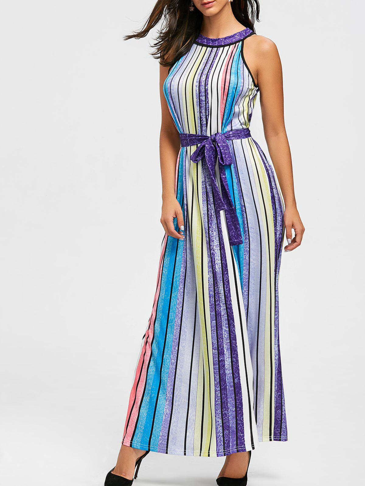 Rainbow Color Striped Maxi Dress - COLORFUL L