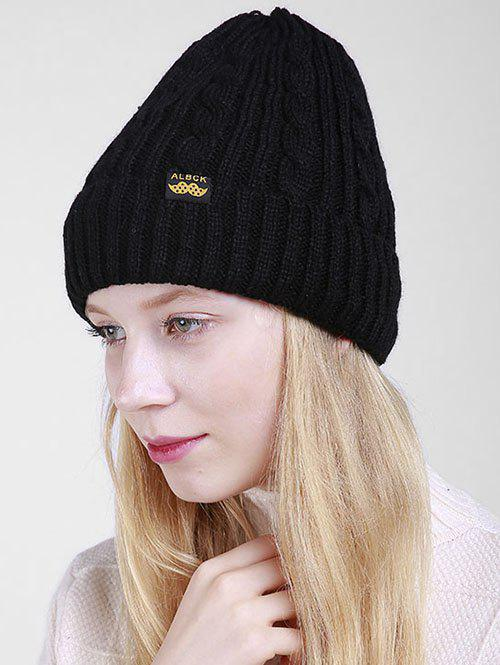 Outdoor ALBCK Pattern Flanging Knit Beanie - BLACK