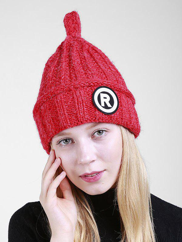 Soft Letter Pattern Crochet Pointy Beanie - Rouge