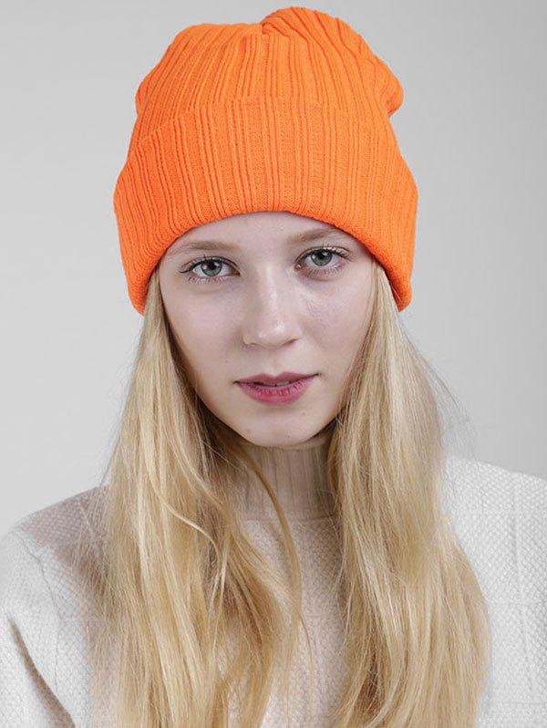 Bonnet En Tricot À Nervure Simple - Orange