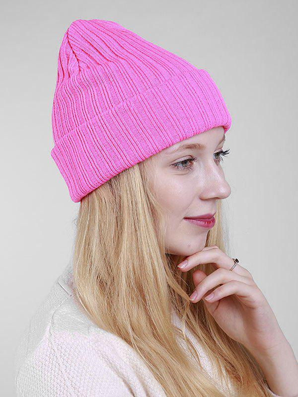 Bonnet en tricot à nervure simple - ROSE PÂLE