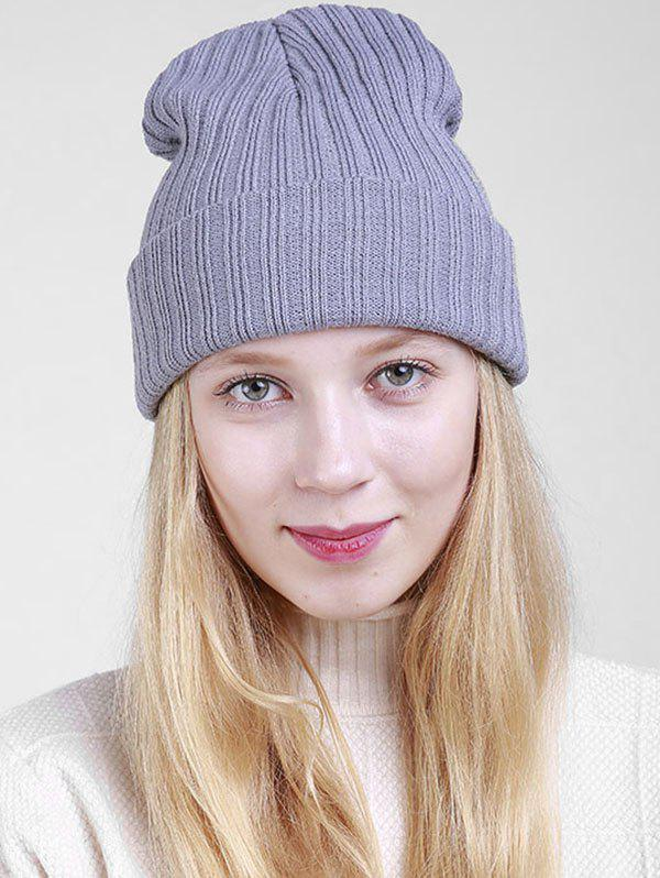 Bonnet en tricot à nervure simple - gris