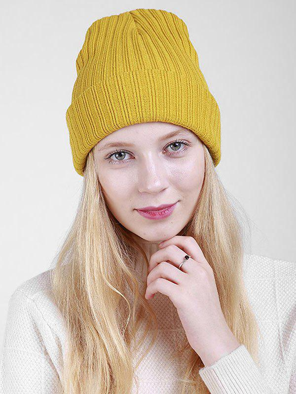 Flanging Plain Ribbed Knit Beanie - MUSTARD
