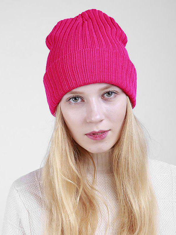 Flanging Plain Ribbed Knit Beanie - TUTTI FRUTTI