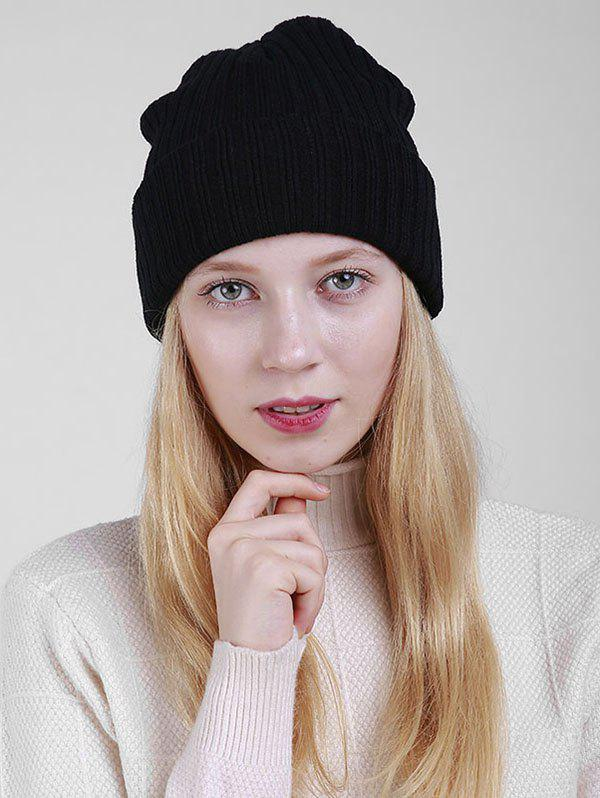Flanging Plain Ribbed Knit Beanie - BLACK
