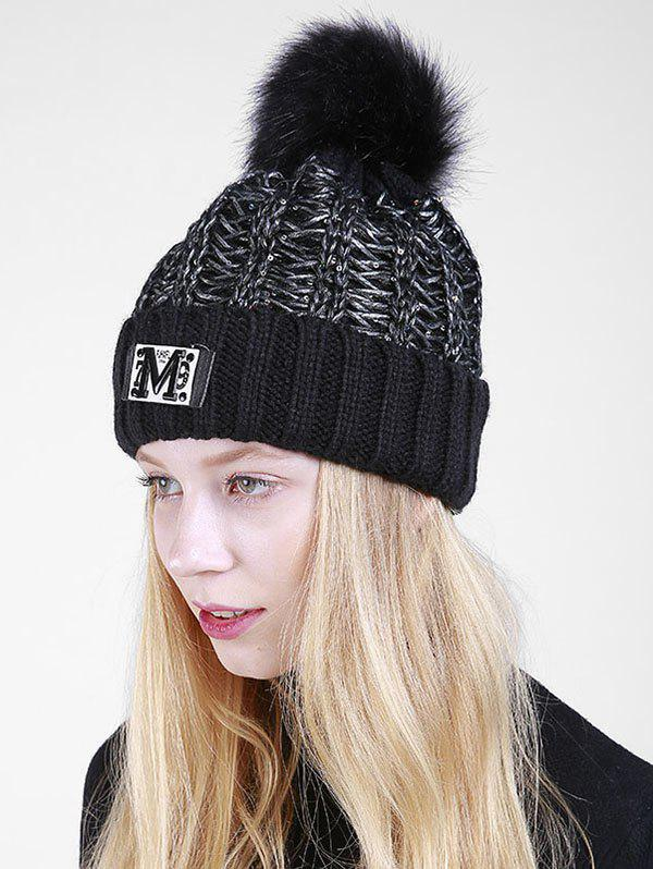 Letter Pattern Fuzzy Ball Embellished Flanging Knit Beanie - BLACK