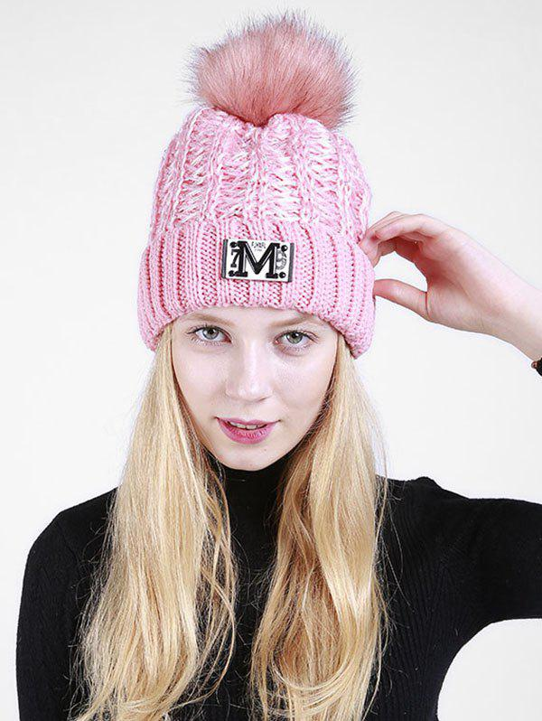 Lettre Fuzzy Embellished Flanging Knit Beanie - ROSE PÂLE