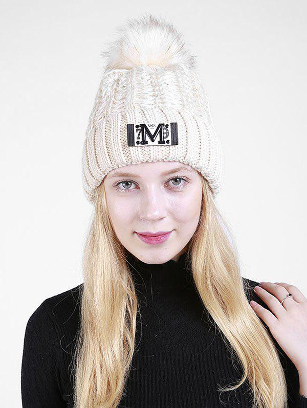 Lettre Fuzzy Embellished Flanging Knit Beanie - RAL Beige