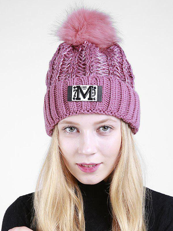Lettre Fuzzy Embellished Flanging Knit Beanie - Pourpre