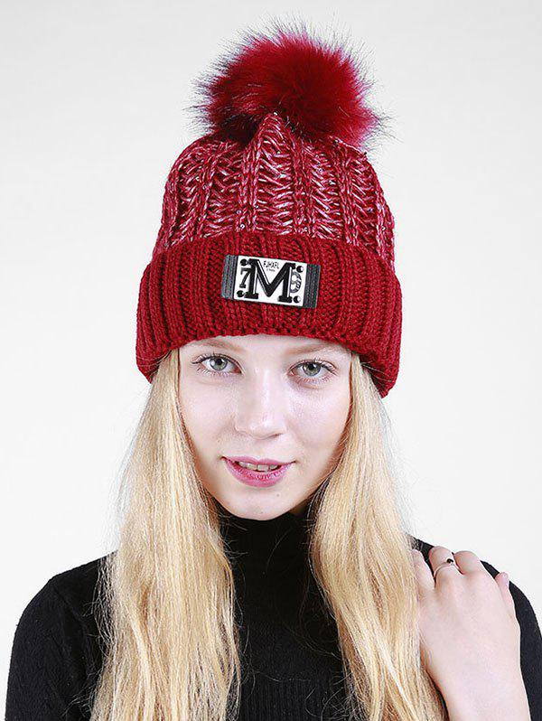 Letter Pattern Fuzzy Ball Embellished Flanging Knit Beanie - CLARET
