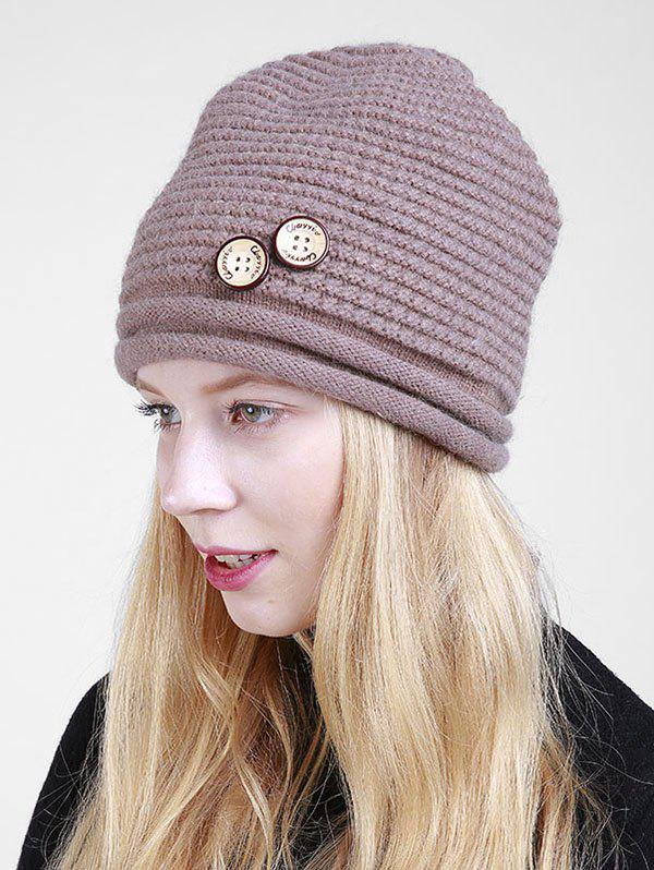 Wooden Button Embellished Crochet Knit Beanie - KHAKI