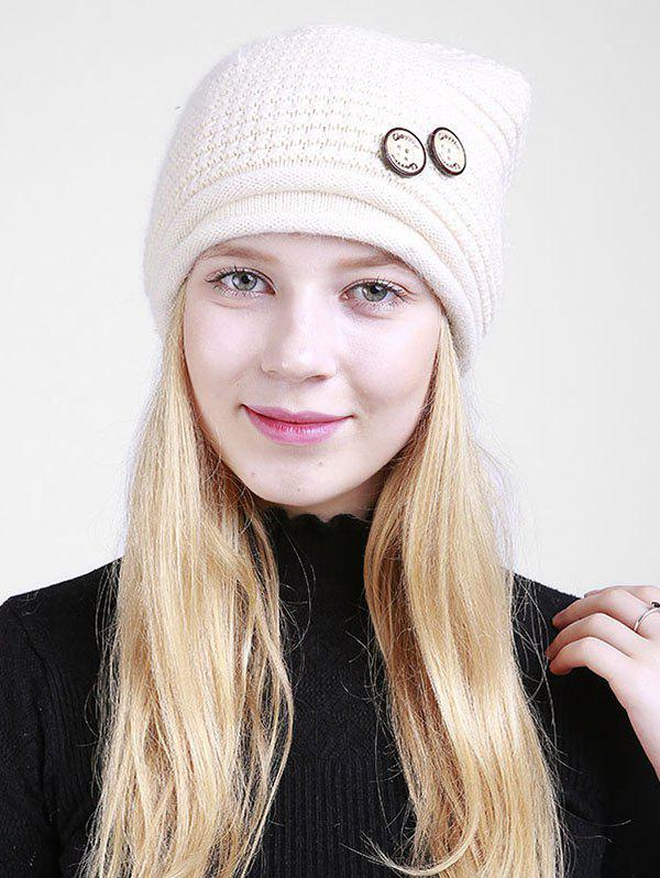 Wooden Button Embellished Crochet Knit Beanie - BEIGE