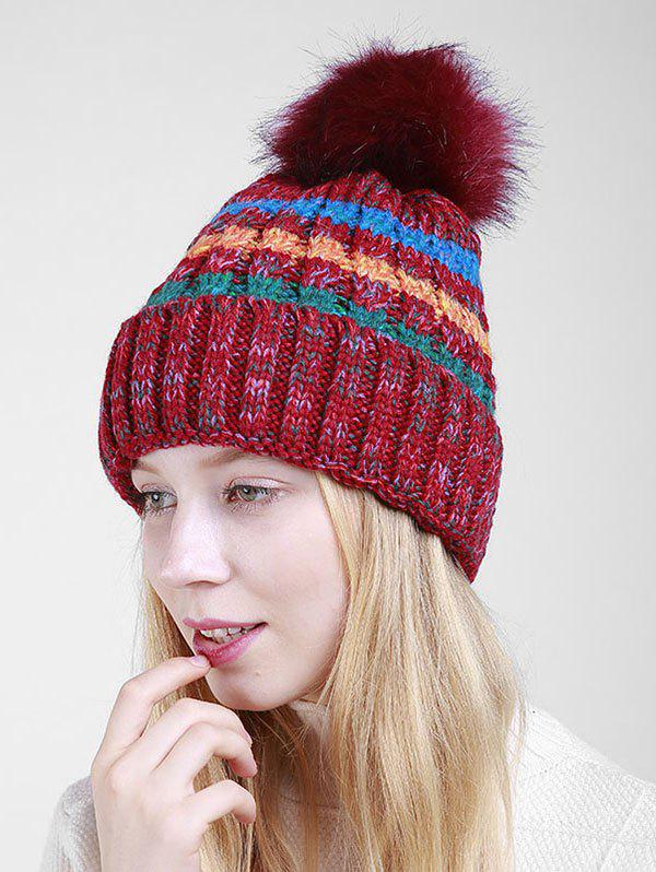 Soft Fuzzy Ball Crochet Thicken Knitted Beanie - RED