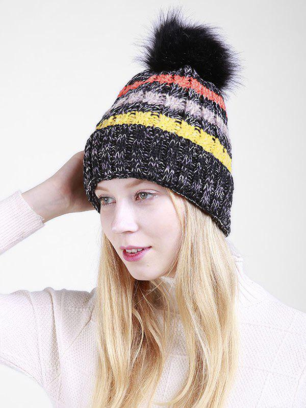 Soft Fuzzy Ball Crochet Thicken Knitted Beanie - BLACK