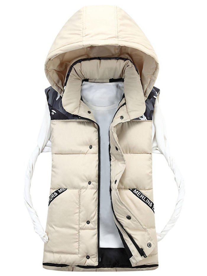 Camo Pattern Détachable Hood Padded Vest - Blanc Cassé 3XL