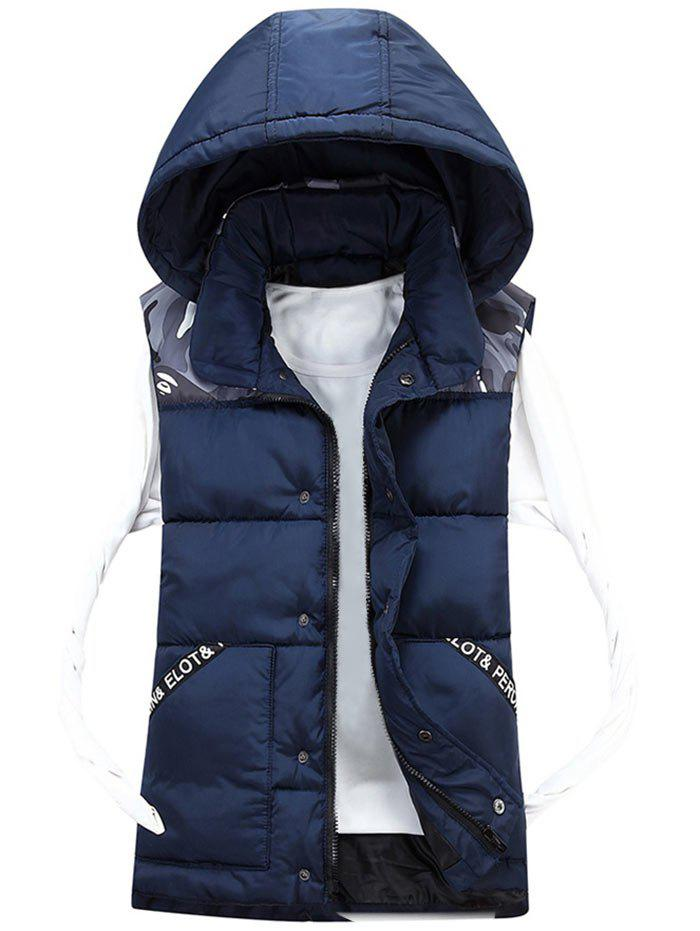 Camo Pattern Détachable Hood Padded Vest - Bleu Cadette 3XL