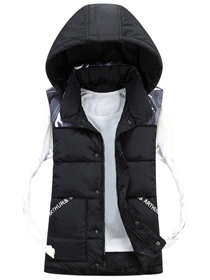 Camo Pattern Détachable Hood Padded Vest - Noir XL
