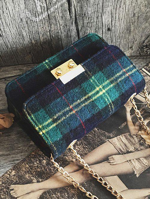 Color Block Plaid Chain Crossbody Bag - GREEN