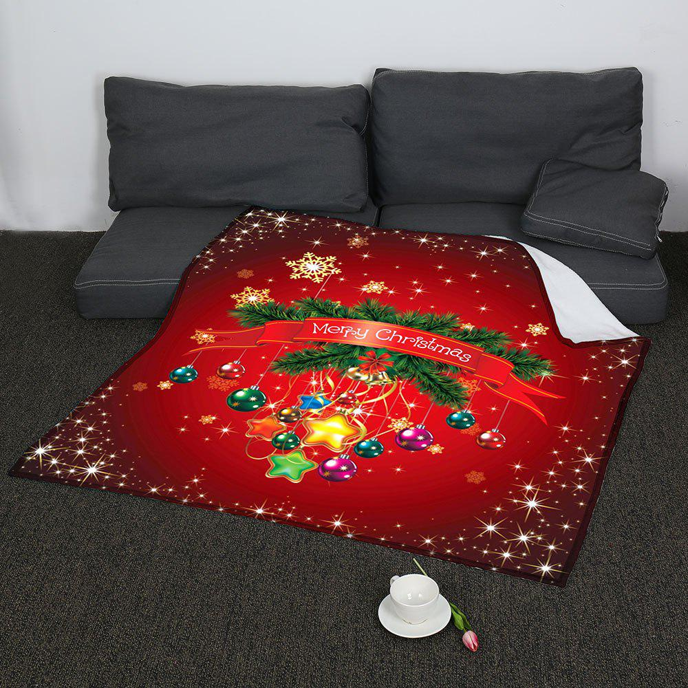 Coral Fleece Christmas Baubles Pattern Blanket - RED W59INCH*L70INCH