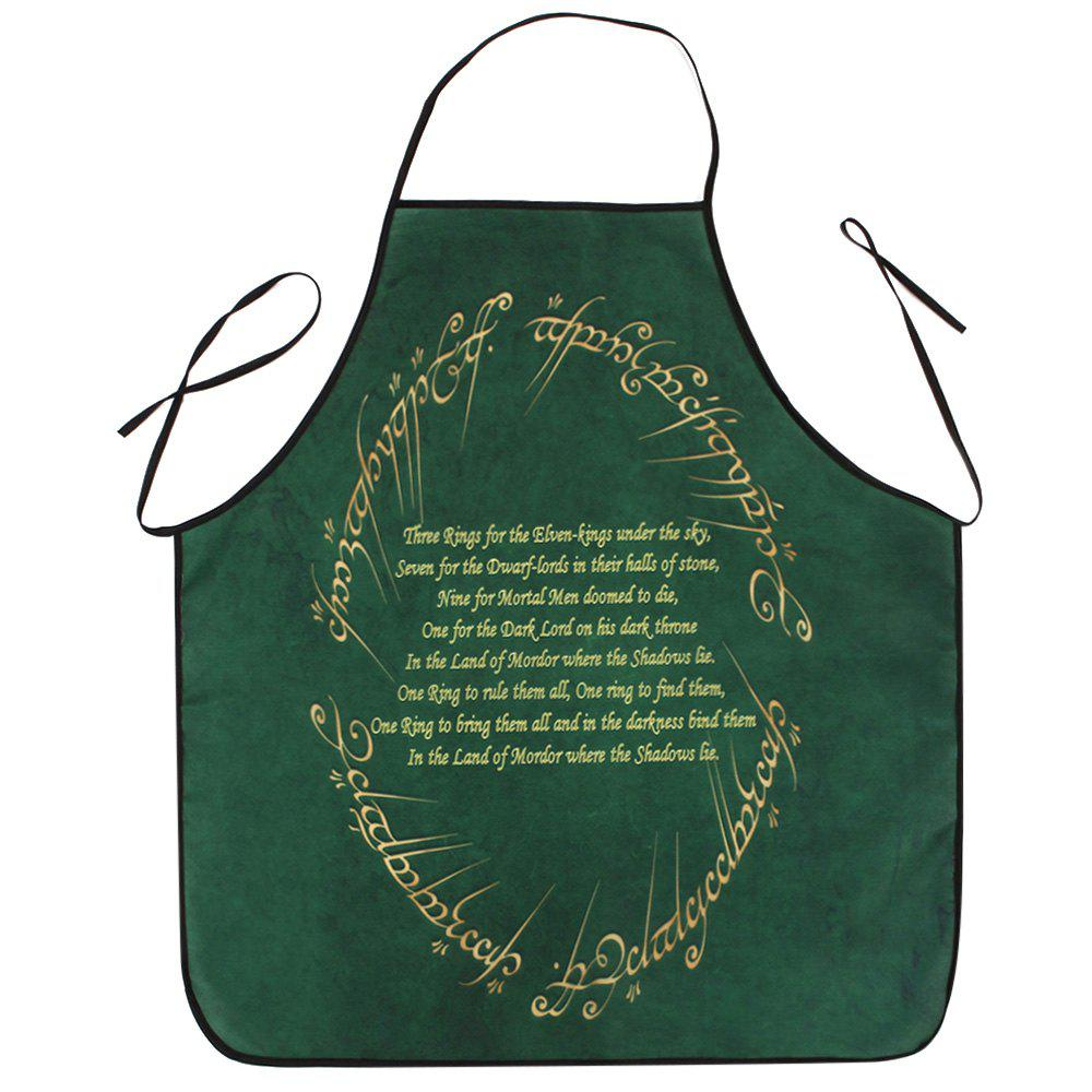 Christmas Carol Print Waterproof Apron - BLACKISH GREEN 80*70CM