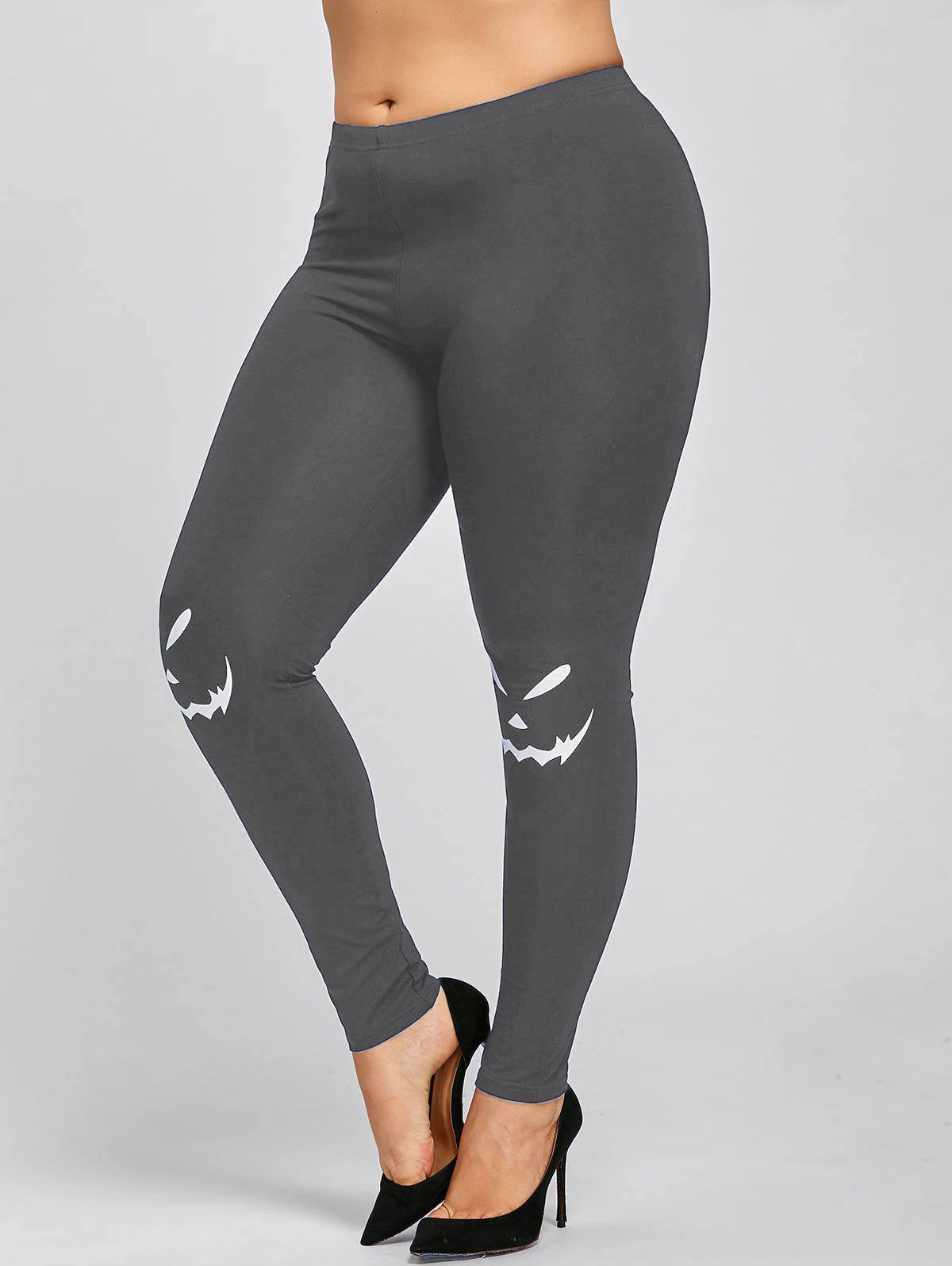 Halloween Plus Size Monochrome Leggings - GRAY XL