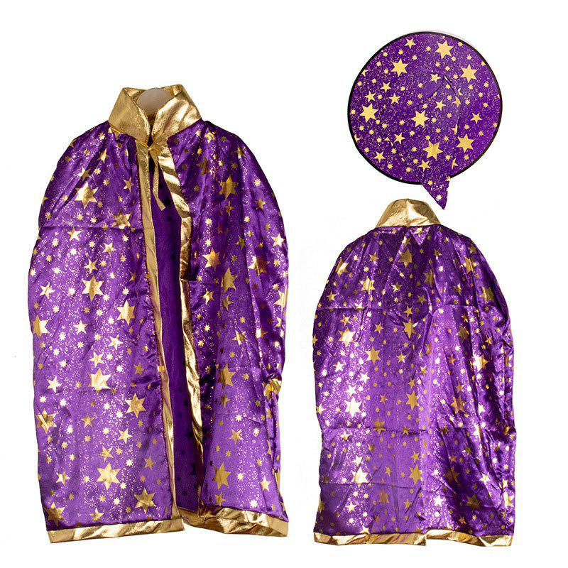 Halloween Party Cosplay Costume Wizard Witch Stars Cloak and Hat for Children - PURPLE