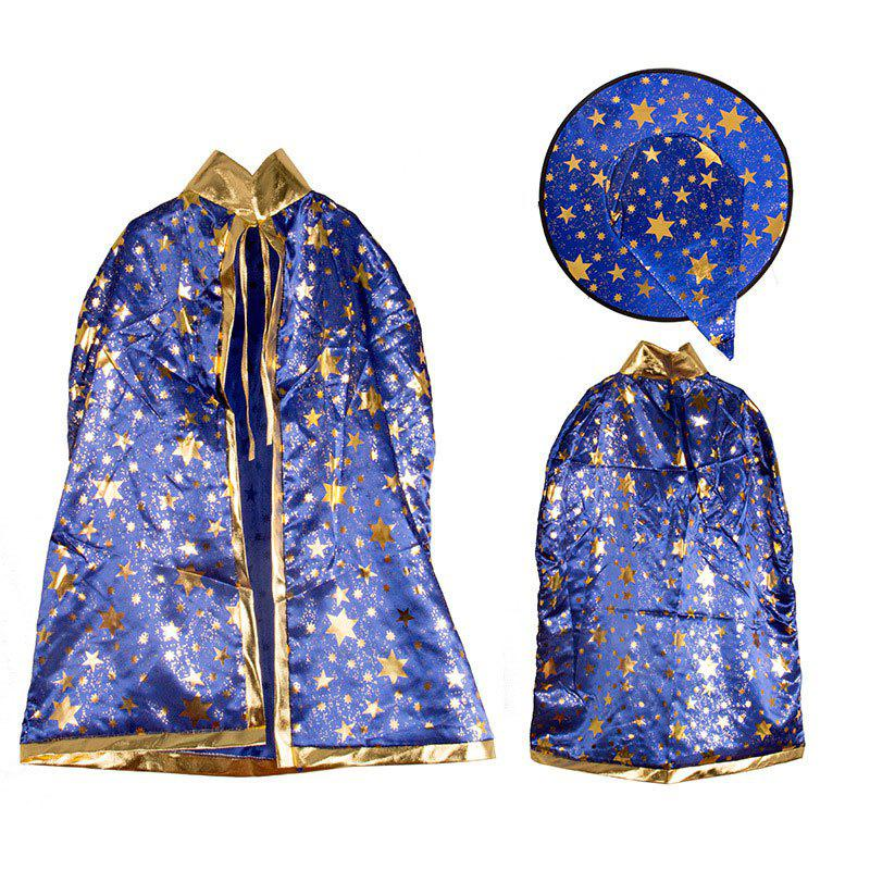 Halloween Party Cosplay Costume Wizard Witch Stars Cloak and Hat for Children - BLUE